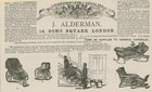 Advert for J Alderman, manufacturer of invalid carriages (engraving)