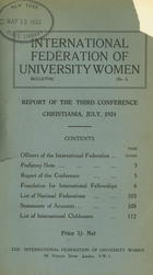 Report of the Third Conference, Christiania, July, 1924
