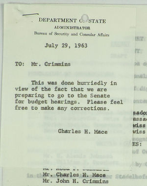 Letter from Charles H. Mace to John Crimmins, with Attached Memo of Conversation, July 29, 1963