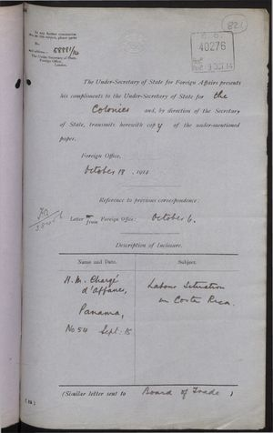 Correspondence re: Labour Situation in Costa Rica, September 3-October 18, 1914
