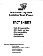National Gay and Lesbian Task Force: Fact Sheets