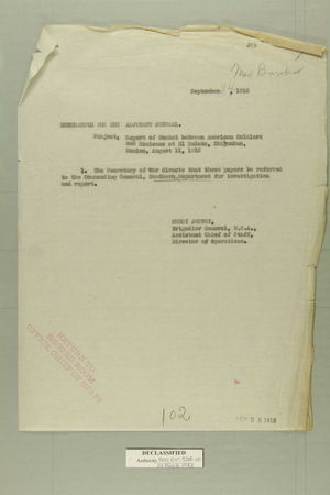 Memo Dated September 24, 1918 from Henry Jervey re: Report of Combat Between American Soldiers and Mexicans at El Mulato, Chihuahua, Mexico on August 11, 1918