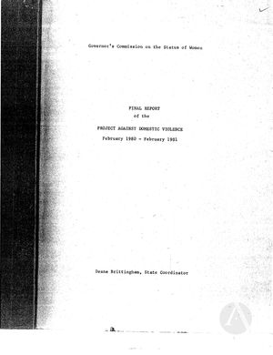 Final Report of the Project Against Domestic Violence, February 1980-February 1981