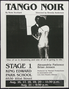 Flyer for the play Tango Noir by Rose Scollard, performed at Stage 1: King Edward Park School, August 16-21, 1988.