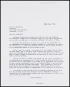 Letter from Ruth Jones to Dr F.W. Ratcliffe, Librarian, University of Manchester, 2 July 1973