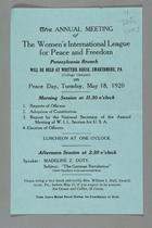 The Annual Meeting of the Women's International League for Peace and Freedom, Pennsylvania Branch