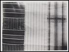 3 textile pieces, all woven in stripes, 1 with cross stripe inserts and 1 with cross stripe embroidery