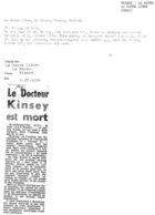 Le Docteur Kinsey est mort