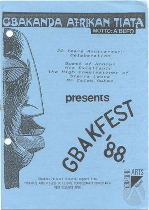 Playbill for GBAKFEST '88