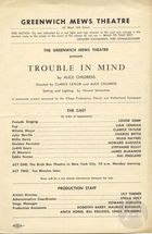 Playbill for Trouble in Mind by Alice Childress