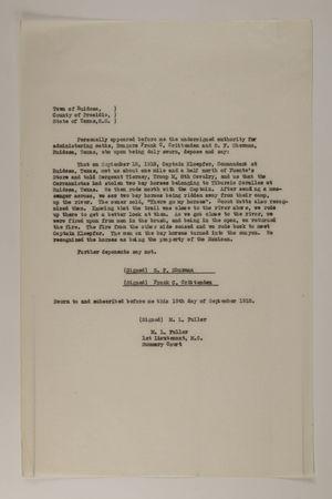 Deposition of S. F. Shurman and Frank C. Crittenden, September 19, 1918