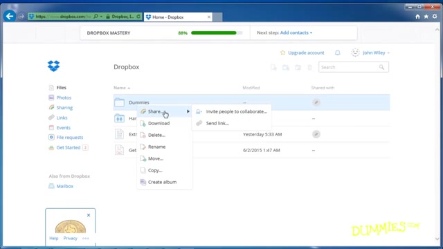 Sharing Files and Folders in Dropbox