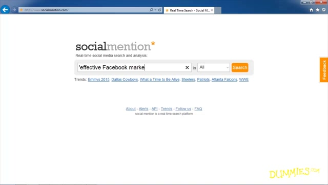 Cloud-Based Marketing Tools For Dummies SocialMention